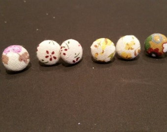 Handmade, Vintage  Fabric Covered Button Stud Earrings