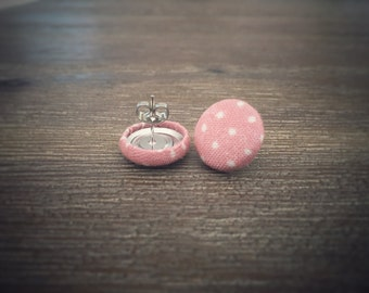 Pink and White Dot Earrings. White Polka Dots. Fabric Button Earrings. Handmade Earrings. Gifts For Her. Stud Earrings. Clip On Earrings.