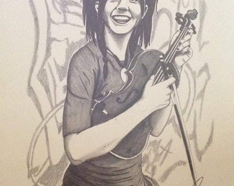 Lindsey Stirling PRINT, Illustration, Art, Pencil Drawing, Sketch, Home Decor, Wall Print