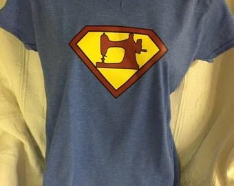 Superwomen Sewing V-Neck Tee shirt
