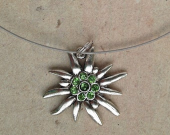 Necklace Edelweiss green