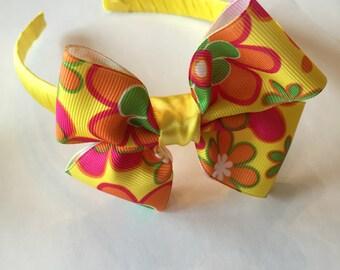 Yellow summer bow headband