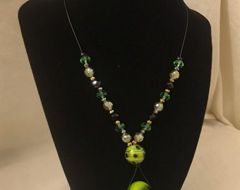 Green Bubble Charm Necklace