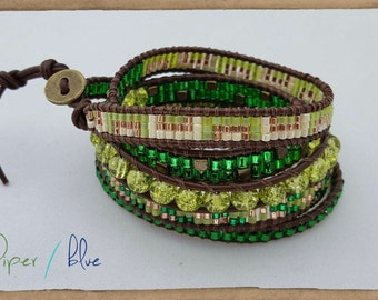Shades of Green Leather Wrap Bracelet