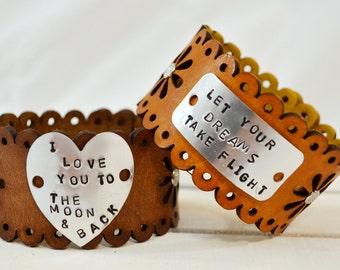 Scallop Edged Daisy Leather Cuff Bracelet