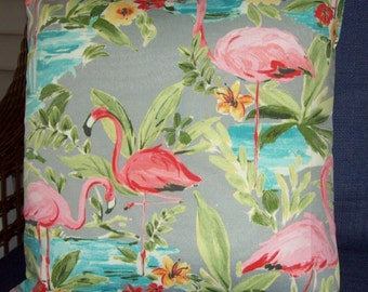 "Pillow-Cover-Flamingos-Hibiscus-Pink-teal, turquoise-18"" tropical-indoor-outdoor-fabric-handmade in USA"