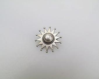 Antique Victorian Solid Silver Sun Star Pin Brooch