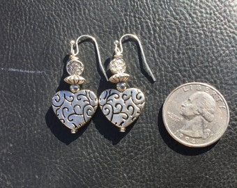 Silver drop dangle heart earrings