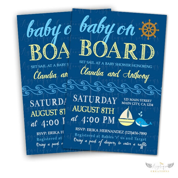 NauticalShower Invitations & Blank Thank You Card to match