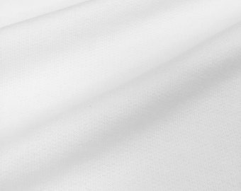 Cotton Fleece Fabric By the Yard (Wholesale Price Available By the Bolt) USA Made Premium Quality - 7030 White - 1 Yard