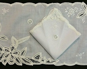 Battenburg Lace Table Placemats and Napkin Set with Embroidery Vintage White