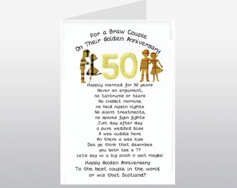 Scottish Golden Wedding Anniversary Card Braw Couple WWWE73