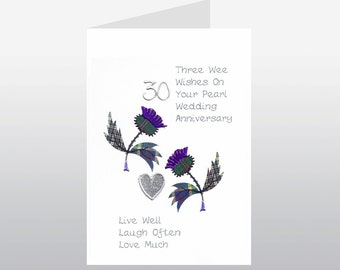 Scottish Pearl Wedding Anniversary Card Thistle WWWE22