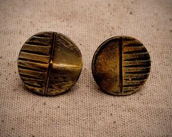 Tribal Wood Button Earrings