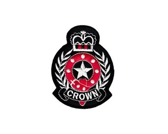 Cute Black Red Cross Crown Fleur De Lis Embroidered Iron On Sew Patches Patch Appliques Applique Biker For Jackets Jeans