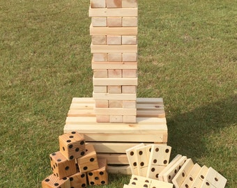 Large Tumbling Tower, Dominoes Game Set & Dice, Outdoor Games, Lawn Games