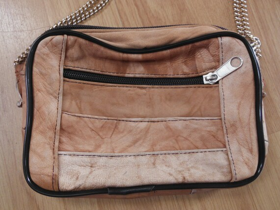 Leather Brown Gold Chain Bag - Small - Vintage