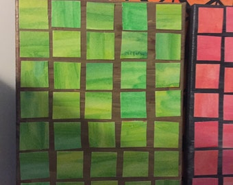 Green squares on light brown