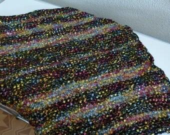 handgestricktes Tuch Bändchengarm handknitted Scarf black w/colours
