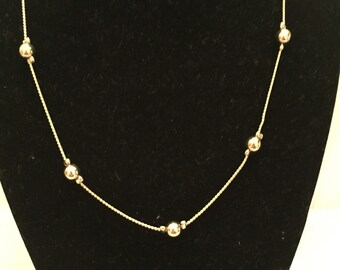 Gold Delicate Floating Bead Necklace