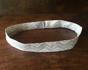 Headband, light-weight headband, Cotton Headband, grey on grey, Workout Headband, Yoga Headband