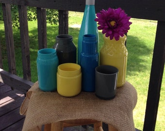 Turquoise + Yellow + Gray or CUSTOM Painted Upcycled Glass Jars