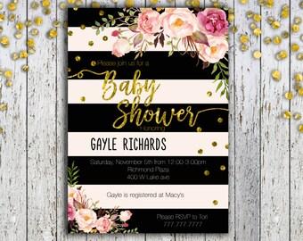 Baby Shower Invitation, Modern Cream and Black, Inspired Baby Shower, Oh Baby, Gender Neutral, Girl Baby Shower, Printable Invitations