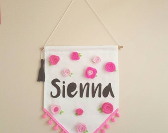 """Gorgeous personalized """"Name"""" banner with flower adornment"""