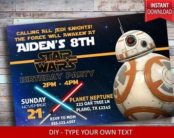Star Wars Invitation - Starwars Invitation - BB8 Inspired invitation - Custom invitation - The force awakens invitation - Jedi invitation