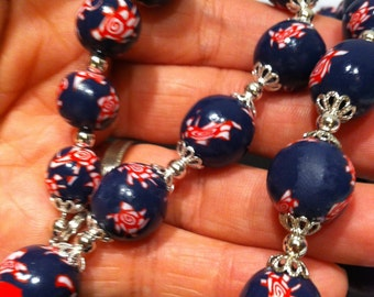 Necklace - Navy flora pearls