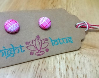 Handcrafted Pink Button Earrings