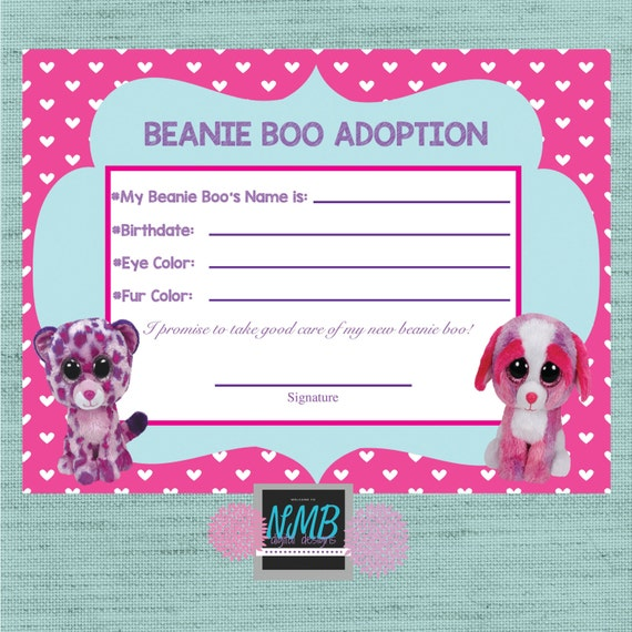 Beanie Boo Adoption Certificate 8 1/2 x 11 & 5 x7