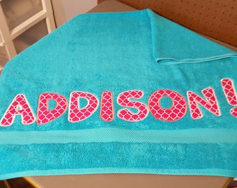 Monogrammed and applique bath & beach towels! Makes a great graduation gift!