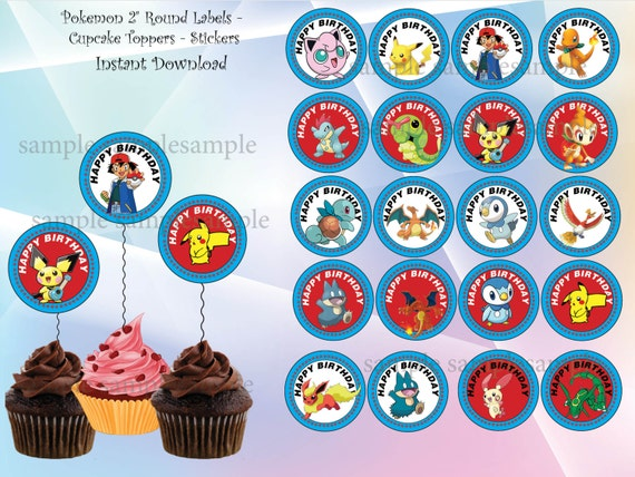 image relating to Pokemon Cupcake Toppers Printable named Pokemon Birthday Printable Cupcake Cake Toppers Birthday Wikii