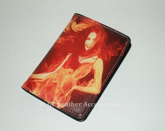 High Quality Faux Leather Passport Holder Case (Fire Girl)