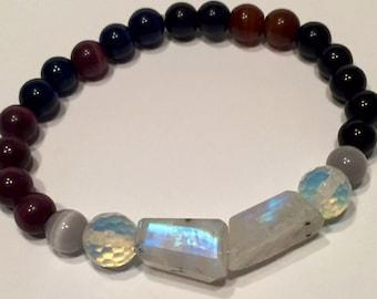 Rainbow moonstone bracelet, natural rock