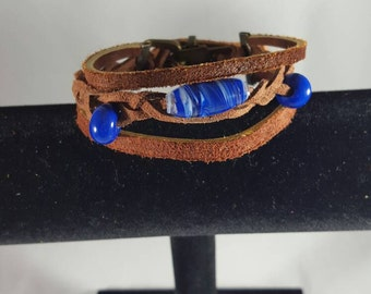 Blue beaded leather bracelet