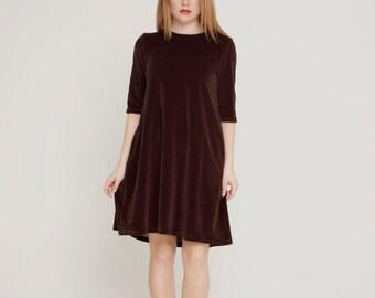 Brown velour dress