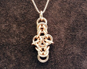 Byzantine Cross Chainmail Pendant - 14kt Rose Gold Fill