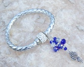 Silver Plaited Leather Bracelet Leather wristband Wheat sheaf Charm Elegant Jewelry Blue Crystals Gift idea Summer holiday jewelry