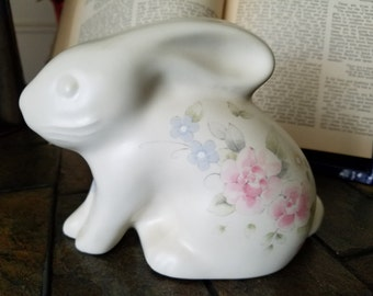 Vintage Pfaltzgraff Bunny Coin Bank in Tea Rose Pattern