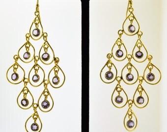 Amethyst vermeil earrings