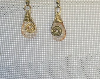 Orange Wire Wrapped Drop Earrings