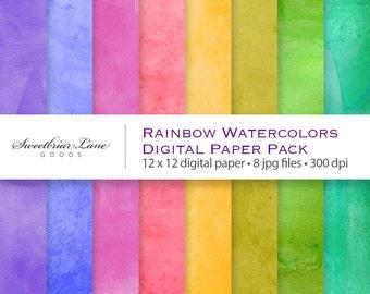 Rainbow Watercolors Digital ScrapbookPaper for instant download