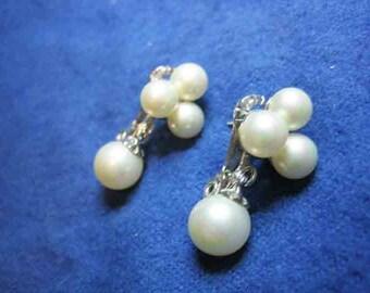 Vintage Lewis Segal Pearl Pierced Clip Earrings