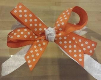 Girls Orange & White Polka Dot layered Bow