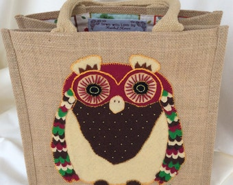 Wise Owl Animal Appliqué Tote