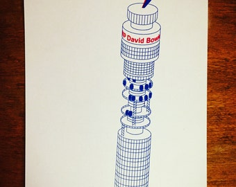 David Bowie BT Tower tribute handpulled screenprint