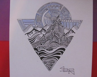 Mountain drawing/ Mountains of happiness/A4/ Art for home
