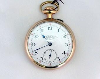 Circa 1930's H.H.W. Co President Pocket Watch, Private European Label, High Caliber Swiss 17 Jewel Movement